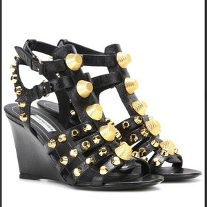 NEW. Balenciaga Black Arena Leather Wedge Sandals